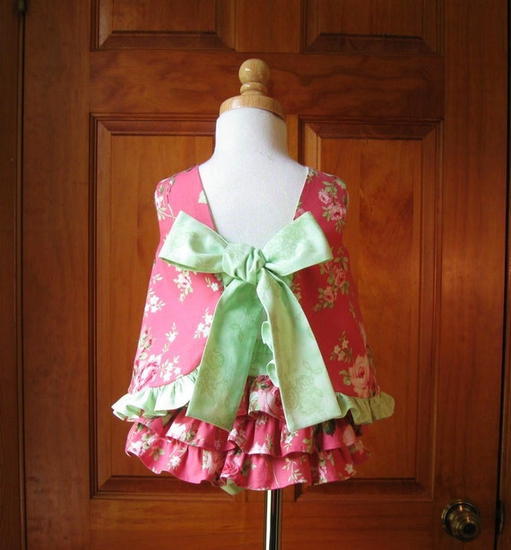 Baby girl top and ruffled bloomers pink shabby roses on deep pink Size 12Mo.