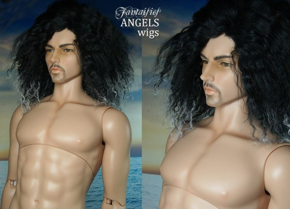 Black Tibetan Lambswool with White Tips Wig for EID Bjd Soom Iplehouse Male BJD dolls  Laurie Lenz ANGELS Fantaisie Wigs