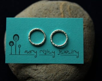Circles Studs Earrings Sterling Silver Studs Hammered Studs Simple Studs Everyday Earrings