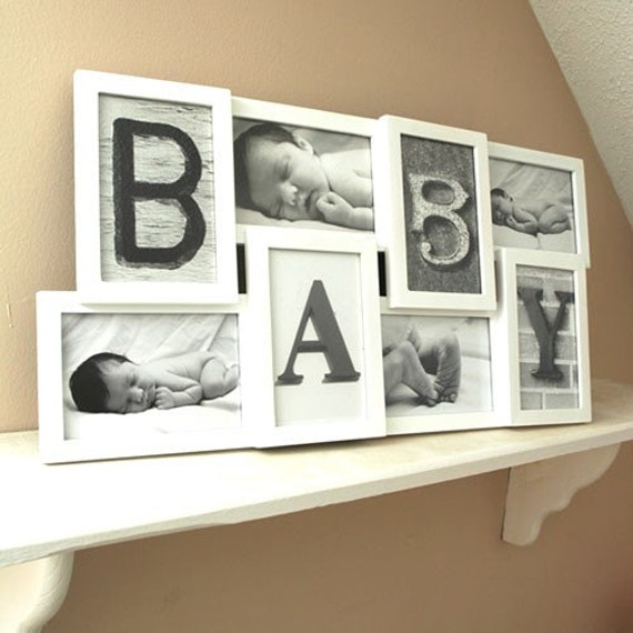 4 letter word and photo collage frame white