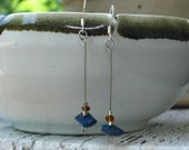 The Sophie- Re-Purposed Lapis and Silver Dangle Earrings