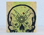 Always Watching Skull 6X6 Wood Screenprint Yellow