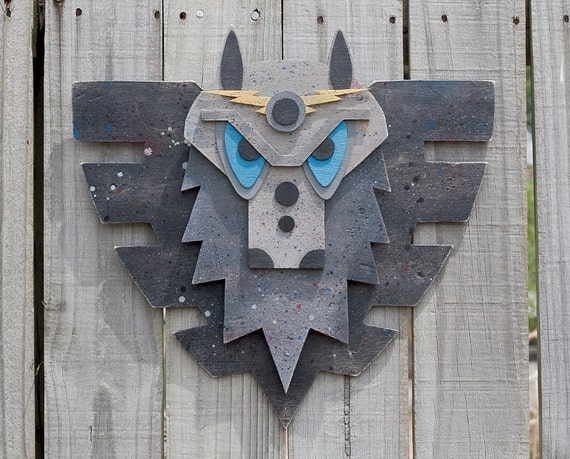 Mounted Wood WULF Head With WIngs.