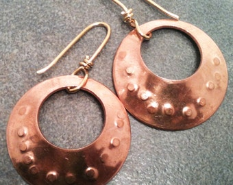 Copper Hoop Earrings with Texture, Brass Ear Wires