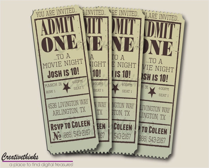 Editable Vintage Movie Ticket Invitation by creativethinks
