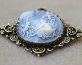 Vintage Light Blue Victorian Revival Cameo Brooch Pendant Cherubs Angels Picking Cherries