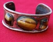 Reduced - Vintage Copper and Tiger Eye Cuff Bracelet