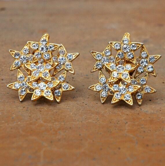 Reserved for maki1975 - Vintage Rhinestone Stars Trembler Earrings