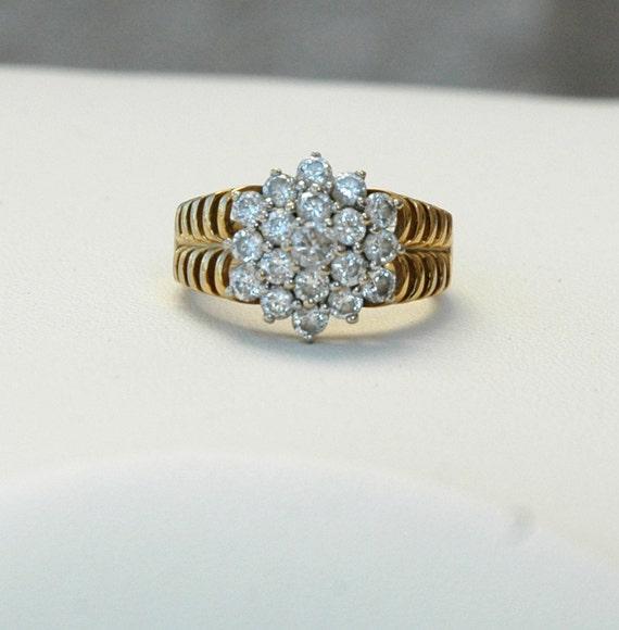 Vintage CZ Cluster Cocktail Ring Size 8