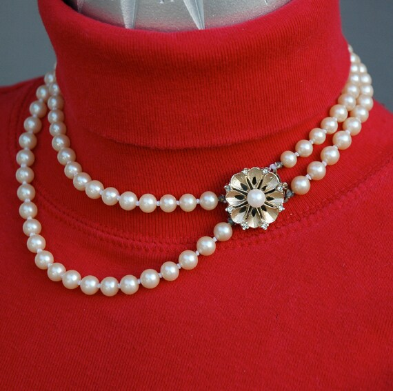 Vintage 2 Strand Faux Pearls with Rhinestone Pearl Clasp Japan