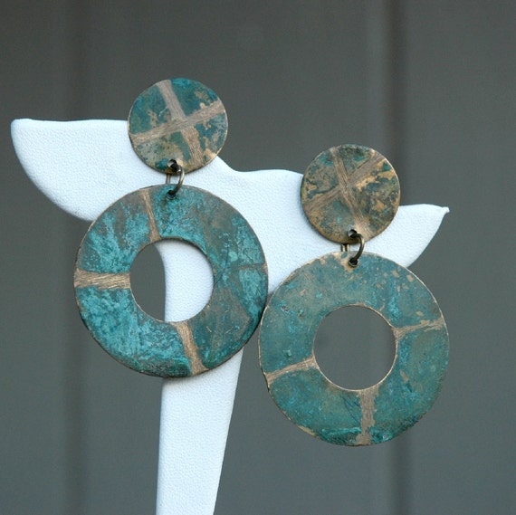 Vintage Teal Colored Boho Earrings