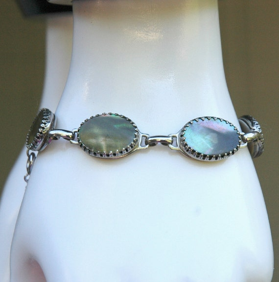 Vintage Whiting and Davis Abalone Bracelet