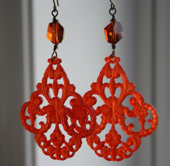 Hyacinth Chandelier Earrings - Orange Red Vintage Lucite and Swarovski Crystal Earrings by Daphne M
