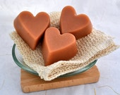 Organic Goat Milk Soap, 3 Heart Shaped Rose Geranium Cold Process Soaps