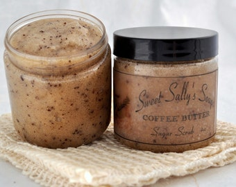 Coffee Butter Sugar Scrub, 4oz Emulsified Organic Sugar
