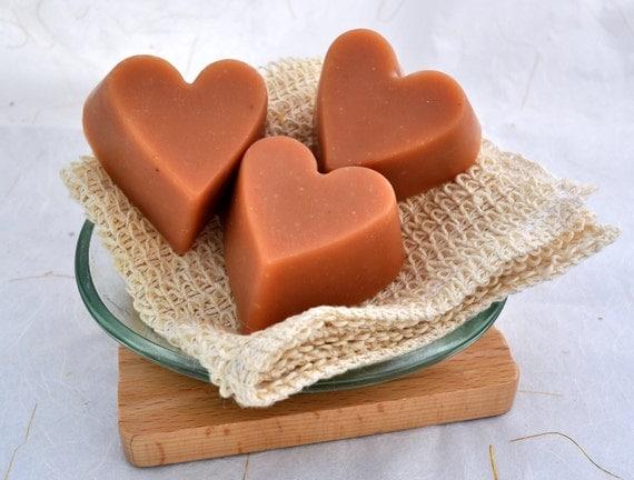 Organic Goat Milk Soap, 3 Heart Shaped Rose Geranium Cold Process Soaps