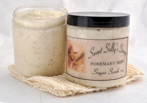 Rosemary Mint Sugar Scrub, 8oz Emulsified Organic Sugar