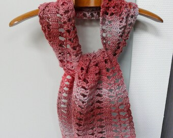 Salmon Scarf Scarflette in Dark Coral Salmon and Light Blue Variegated Wool Blend Yarn - Hand Crochet Scarf