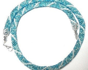 Bead Crochet Necklace in White and Bright Aqua Blue