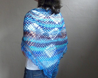 Triangle Shawl Scarf Crochet in Ocean Blue Mix Variegated Noro Cotton Blend Yarn