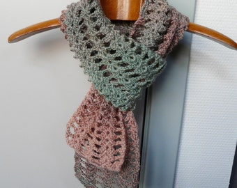 Scarf Scarflette in Shades of Salmon, Tan and Sage Green Variegated Wool Blend Yarn - Crochet