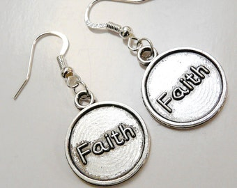 Faith Disk Earrings Silver Tone Round Disk Faith Text Earrings Earwires in Sterling Silver Plated French Style