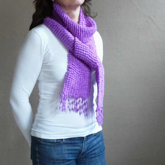 Long Purple Scarf Winter Fashion in Very Soft Pompom Yarn in Bright Purple - Hand Knit Scarf in Radiant Orchid