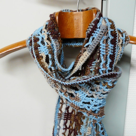 Blue Brown Scarf in Light Blue Shades of Grey Brown and Tan - Hand Crochet Scarf