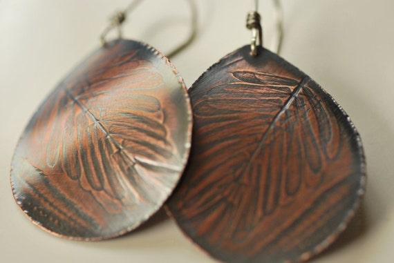 SALE Hawaiian Fern and Jacaranda Curved Teardrop Earrings in Copper with Sterling Silver Ear Wires