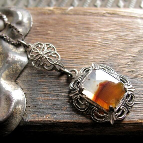 Edwardian Filigree Lavalier Necklace. Sterling Silver