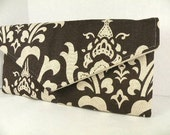 Envelope Clutch Evening Bag Purse- Weddings Bridesmaid Gift--Chocolate Brown and Linen OZBOURNE Damask--