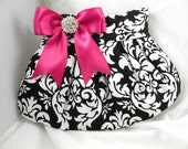 Pleated Clutch/Evening Bag/Wedding/Prom/Bridesmaid/Bride--Black and White Dandy Damask with Fuchsia Satin Bow and Crystal Button