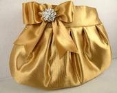 Pleated Clutch Evening Bag Purse Wedding ANTIQUE GOLD Satin with Antique Gold Satin Bow and Clear Crystal