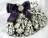 Pleated Clutch Evening Bag Purse Wedding TRADITIONAL DAMASK Black and Ivory with Eggplant-Deep Purple Satin Bow and Clear Crystal