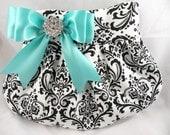 Wedding Bride Bridesmaid Pleated Clutch-Purse  MADISON DAMASK Black-White with Diamond Blue-Aqua-Light Turquoise Satin Bow & Clear Crystal