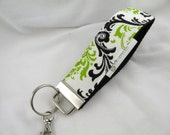 Key Chain/Wristlet-with Swivel Hook--Black-Chartreuse Madison