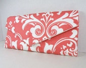 Envelope Clutch/Purse/Wedding/Bridesmaid Gift--Coral & White-OZBORNE Damask