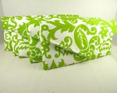 Bridesmaid Set of 5 Envelope Clutches -Chartreuse & White-AMSTERDAM Damask--10% Discount--8 Colors Available