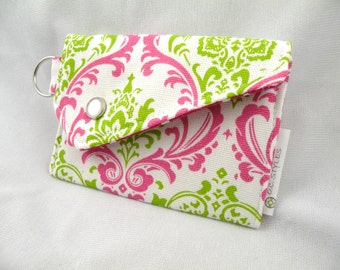 Card Holder Coin Purse Fuchsia-White-Chartreuse MADISON Damask with Snap Flap Closure and Key Ring