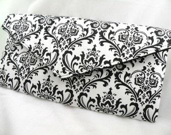 Black White Damask Envelope Clutch Evening Bag Purse Weddings Bridesmaid MADISON Damask