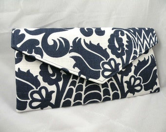 Envelope Clutch Navy and White AMSTERDAM DAMASK --8 Colors Available