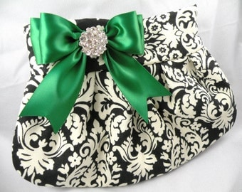 Pleated Clutch/Evening Bag/Purse/Wedding --Traditional Damask-Black -Ivory with Emerald Green Satin Bow and Crystal