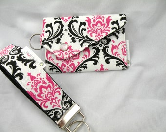 GIFT SET KeyChain Key Fob Card Money Holder Coin Purse Set Hot Pink White Black Madison Damask