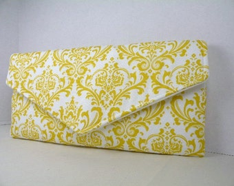 Envelope Clutch/Purse/Wedding/Bridesmaid Gift--Corn Yellow and White MADISON Damask