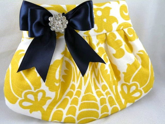 Damask Corn Yellow and White with Navy Satin Bow and Crystal Pleated Clutch  Bridesmaid Clutch   AMSTERDAM Damask
