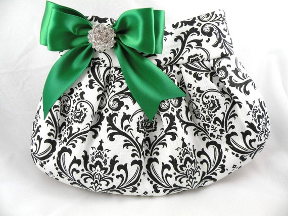 Pleated Clutch/Evening Bag/Purse/Wedding --Madison-Black and White with Emerald Green Satin Bow and Crystal