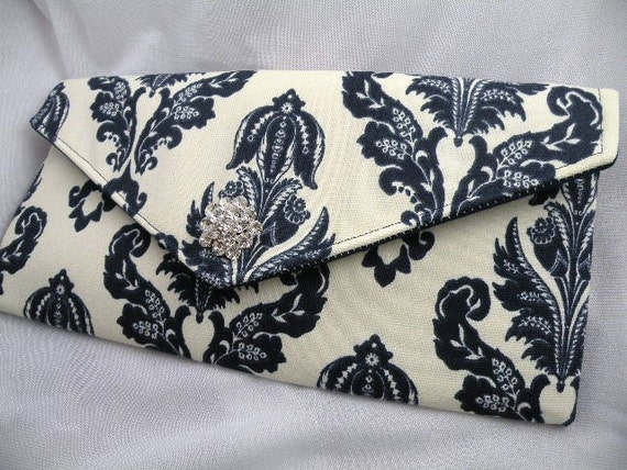 Weddings Bridesmaid Clutch Evening Bag Purse  Navy and Ivory AVERY Damask with Clear Crystal