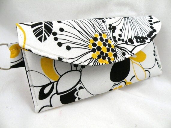 Mini Wallet-Card Holder Night and Day--Black-White-Yellow Flowers--with Split Ring Key Holder