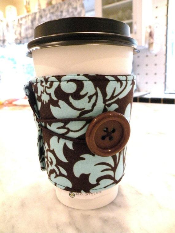 Iced or Hot Coffee/Tea Sleeve Cozy Adjustable--Aqua and Brown DANDY DAMASK