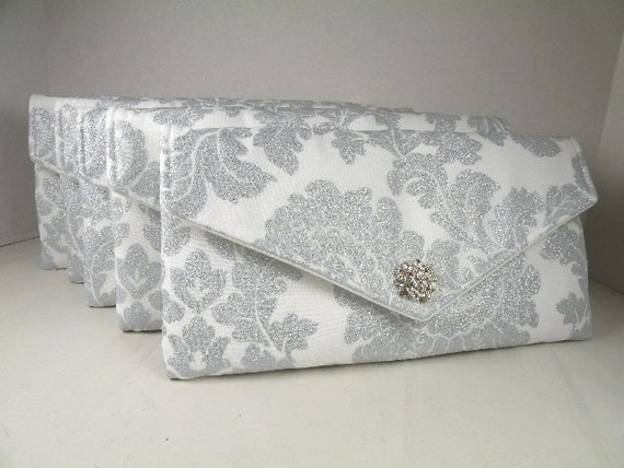 Bridal Pack 5 Envelope Clutches  Delovely Damask White & Silver-Platinum Shimmer - Clear Crystals Bride-Bridesmaid Gift-  10% Discount